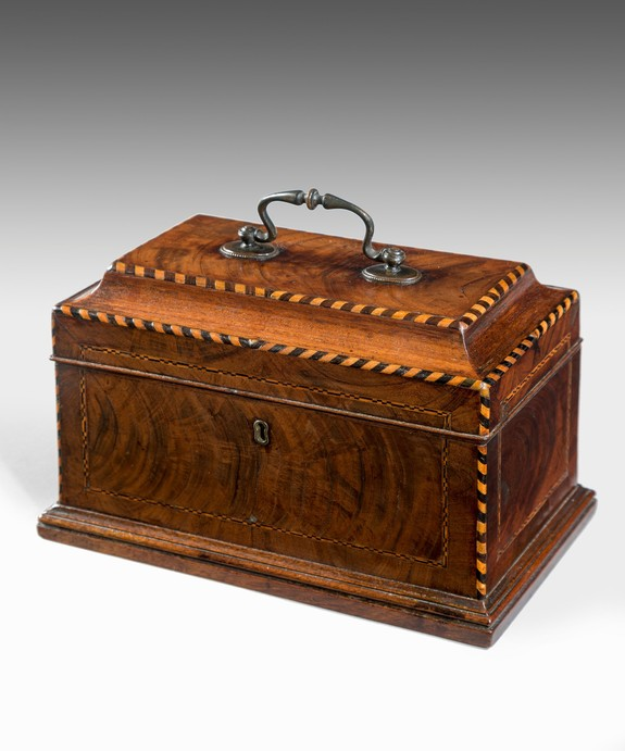 A Chippendale period mahogany tea caddy. Large Image 1