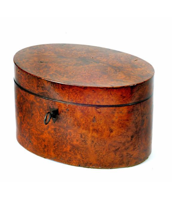 A fine Sheraton period thuya wood veneered oval tea caddy. Large Image 1
