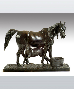 A bronze animalier sculpture of a horse.