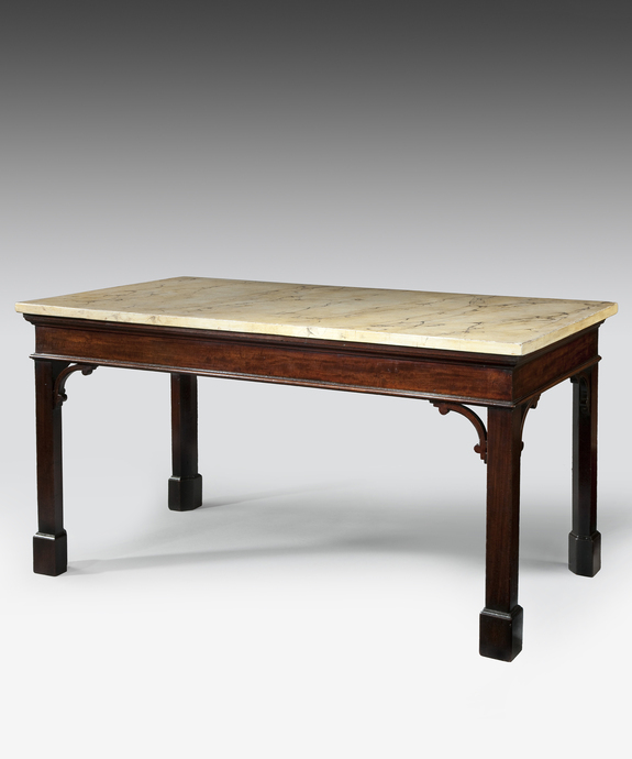 A fine Chippendale period mahogany console table with faux marble painted top.   Large Image 1