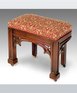 Regency mahogany stool in the gothic taste.