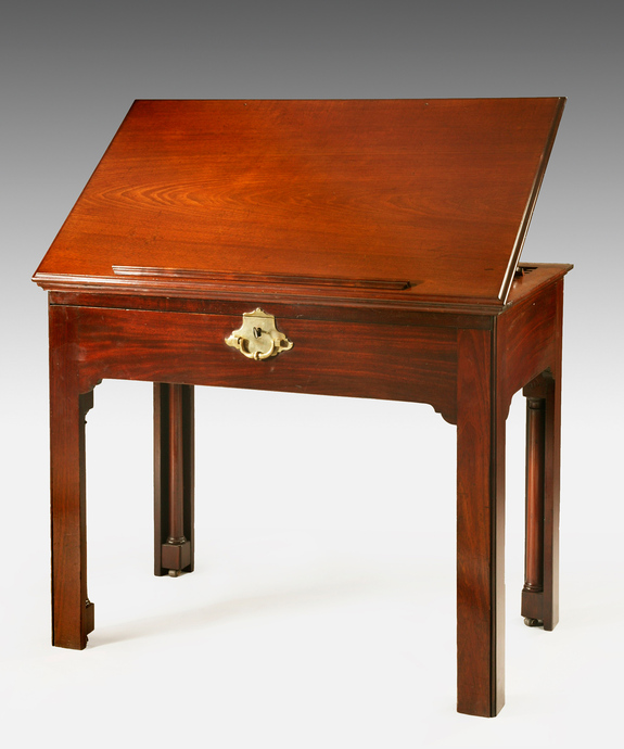 A Chippendale period mahogany lift top architect's table. Large Image 1