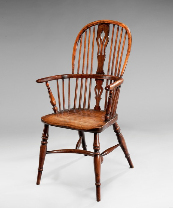 An Eighteenth Century yewwood and elm windsor armchair. Large Image 1