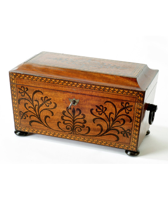 A Regency period mahogany sarcophagus shaped tea caddy. Large Image 1