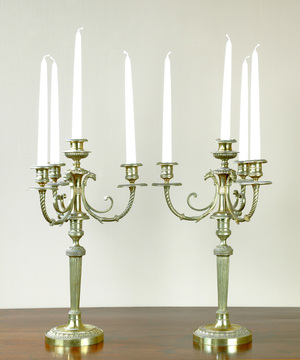 A pair of late 18th Century brass 4 branch candelabra.