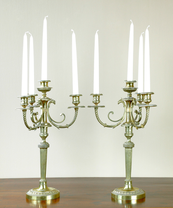 A pair of late 18th Century brass 4 branch candelabra. Large Image 1