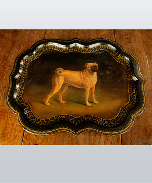 Regency Period papier mache tray decorated with a pug dog.