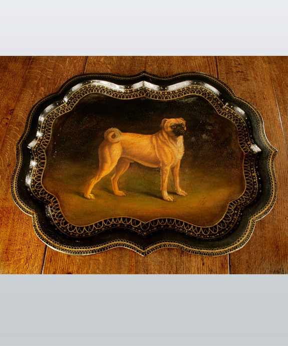 Regency Period papier mache tray decorated with a pug dog. Large Image 1
