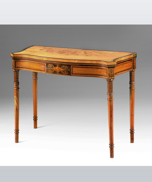 Sheraton revival satinwood card table.