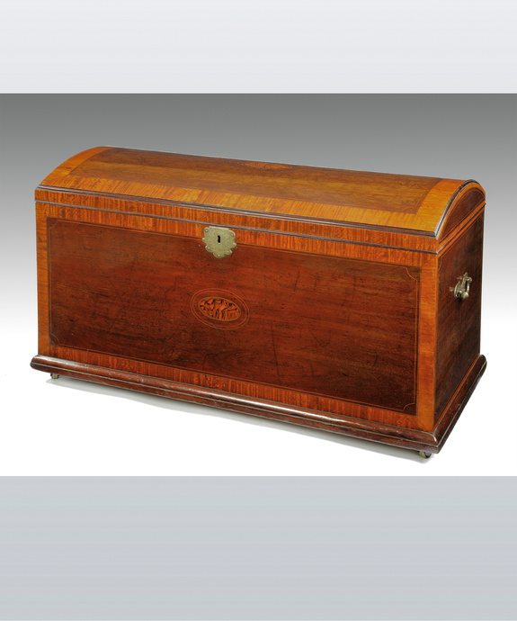 A Georgian mahogany silver chest.