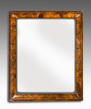 Queen Anne walnut cushion mirror.