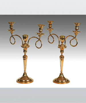 An elegant pair of late 18th Century Russian bell metal 2 branch candelabra.