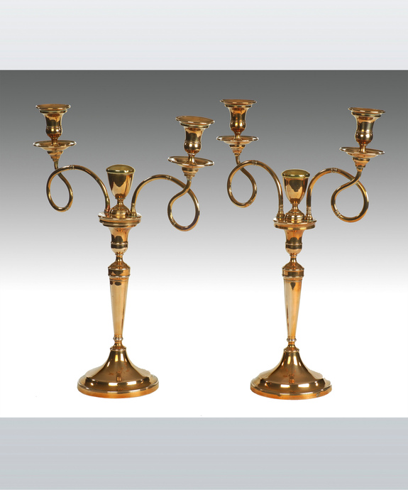 An elegant pair of late 18th Century Russian bell metal 2 branch candelabra. Large Image 1