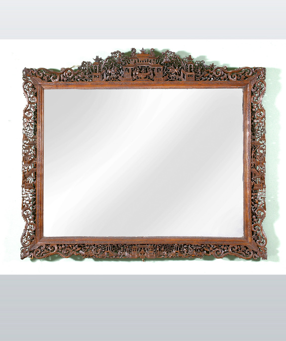 A profusely carved 19th century Chinese boxwood mirror.   Large Image 1