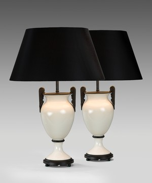 Pair of white glass table lamps.