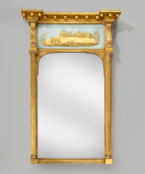 A Regency period vere eglomise pier glass mirror. Large Image 1