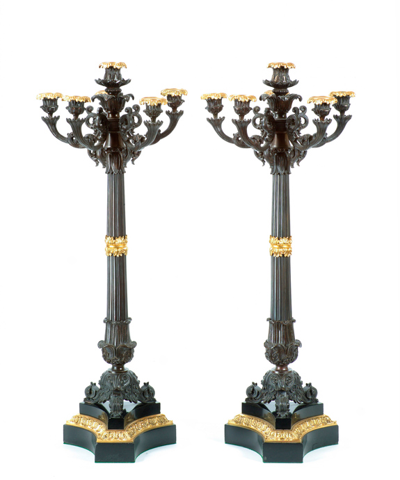 A fine pair of Regency period bronze and ormolu 6 light candelabra. Large Image 1