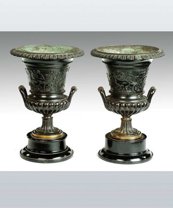 A fine pair of Regency period cast bronze urns. Large Image 1