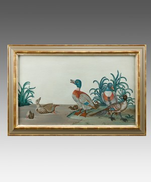 A basso relievo painting of Ducks.