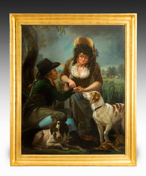 'A fortune teller with hunter and dogs'