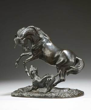 A bronze scultpure of a horse and hound by Giuseppe Buzzi.