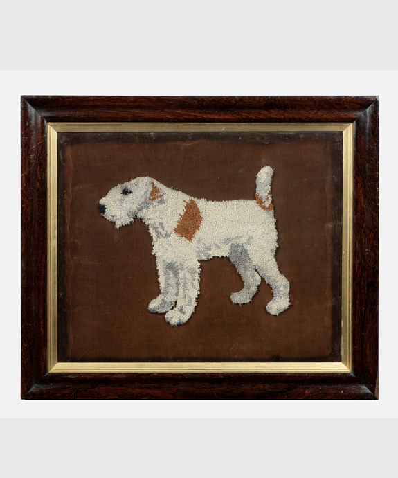 A 19th Century woolwork picture of a Fox Terrier. Large Image 1