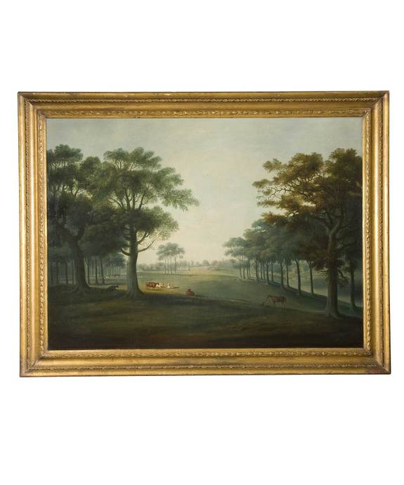 An English Park with a house in the background by D. Clowes. Large Image 1