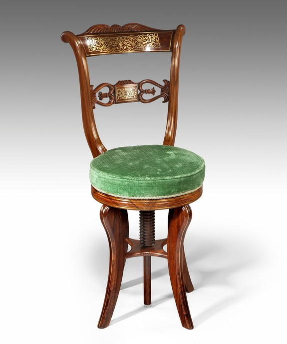 An unusual Regency period rosewood and brass inlaid music chair. Large Image 1