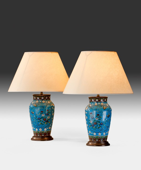 A pair of Chinese late 19th Century cloisonne vases converted to lamps. Large Image 1