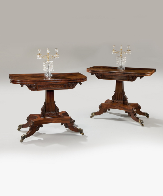 A superbly carved pair of Regency period mahogany tea tables. Large Image 1