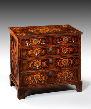 A William and Mary oyster veneered chest.