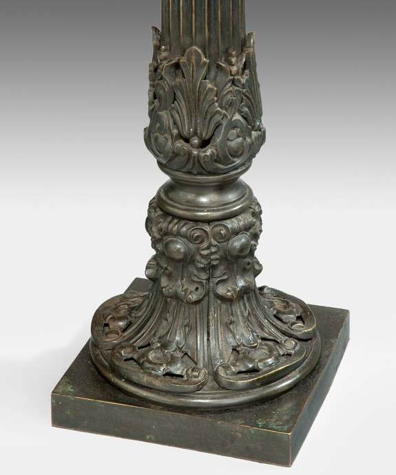 A fine pair of early Nineteenth Century bronze lamps. Large Image 1