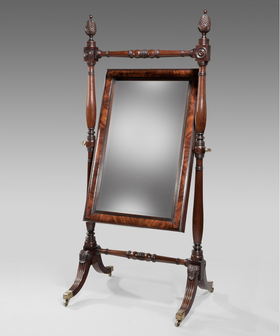 A Regency mahogany cheval mirror. Large Image 1