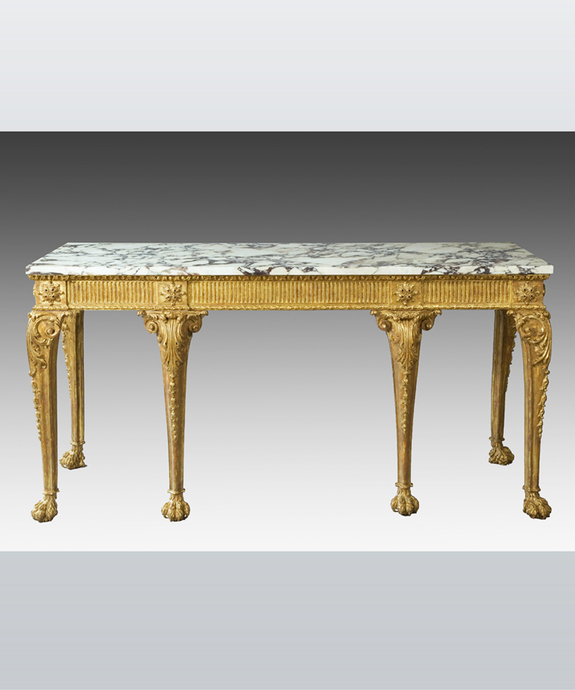 A rare Chippendale period carved giltwood console table. Large Image 1