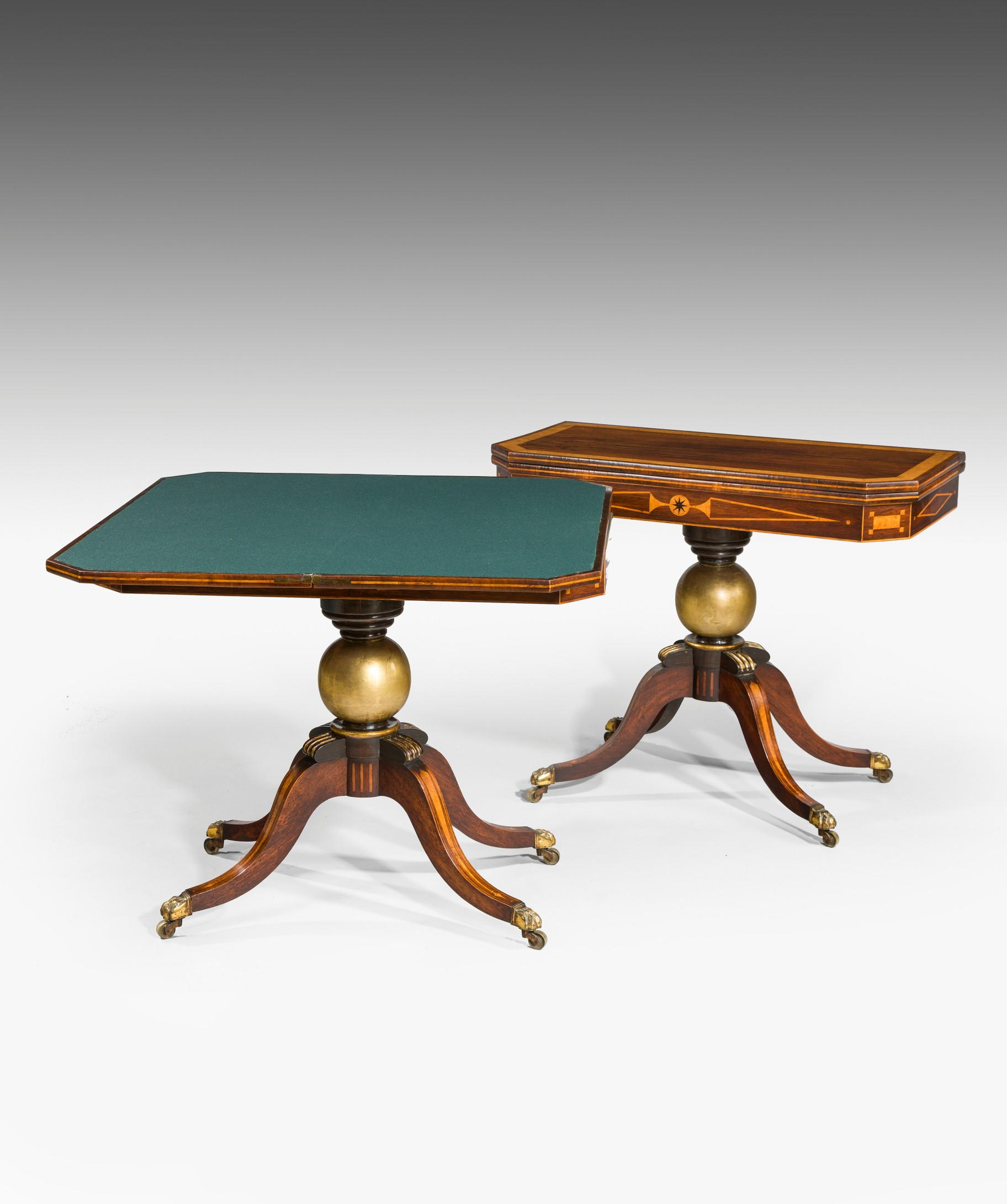 Antique card table regency card table inlaid card table antique -  Card Table Here The Antique Table Rests On A Gilded Ball Stem Terminating In Four Swept Legs Inlaid With Amboyna And Original Lion Paw Casters