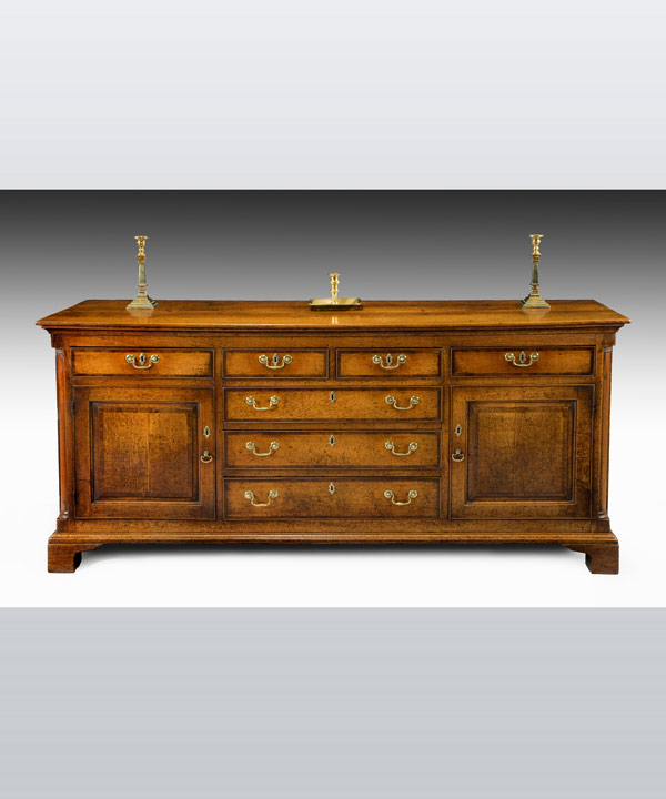 An antique North Country oak dresser.