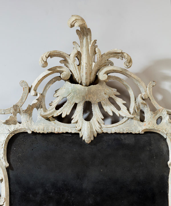 Chippendale Rococo mirror in original white paint