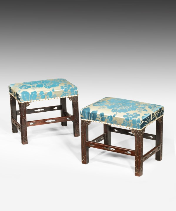 Pair of Chippendale period stools