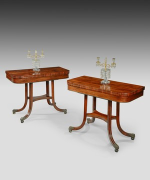 A pair of Regency rosewood card tables.