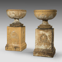 Pair antique stoneware garden urns.