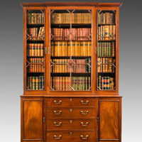 Antique Georgian library breakfront bookcase.