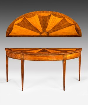 A Sheraton satinwood and sycamore console table.