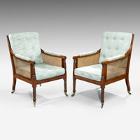 Pair antique bergere armchairs.