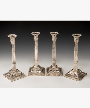 Set of 4 Georgian silver candlesticks.