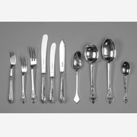 Antique canteen of silver cutlery