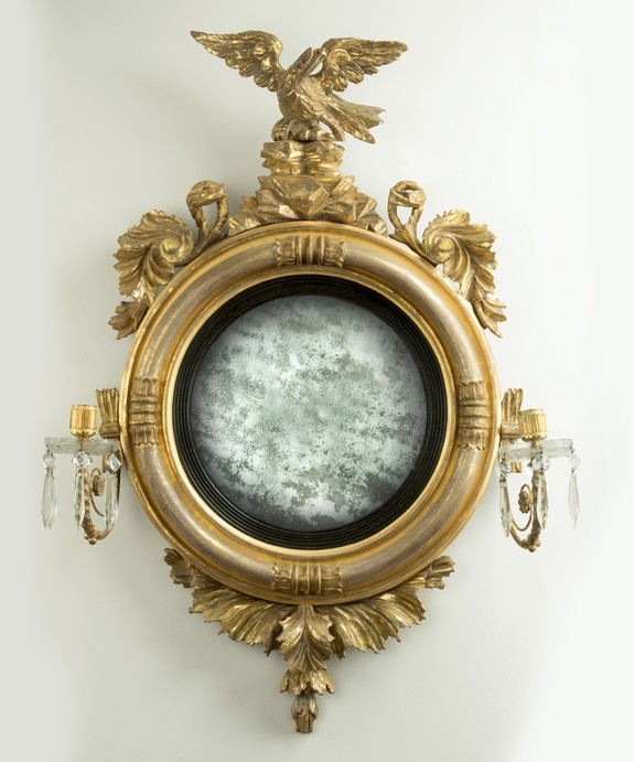 Antique convex mirror from Regency period