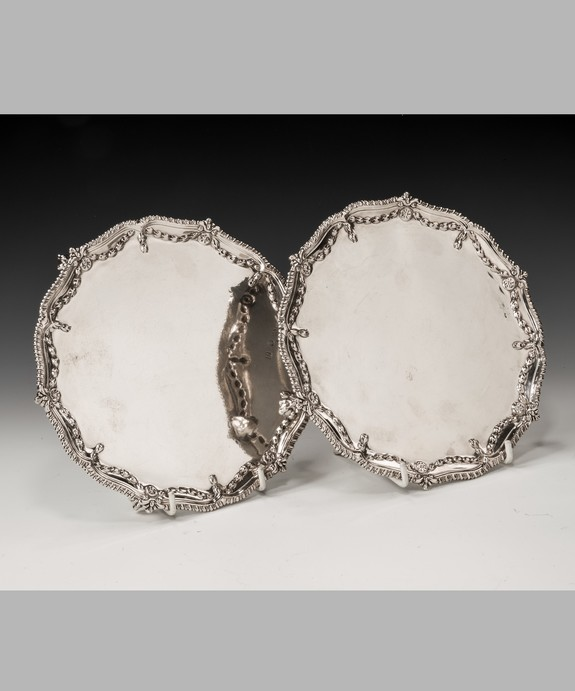 Pair of antique Georgian silver salvers