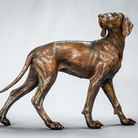 Weimaraner dog sculpture in bronze
