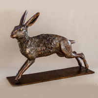 Sculpture of a hare in bronze