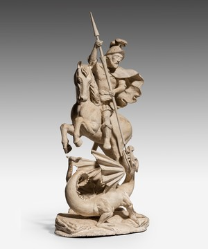 Georgian carved statue of St. George and the Dragon.